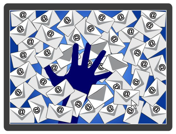 An illustrated hand surrounded by too much work email