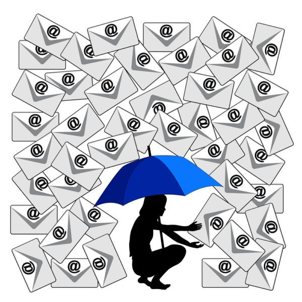 illustrated figure of woman holding an umbrella to stop a storm of work emails