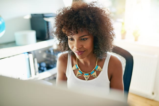 young working woman at computer